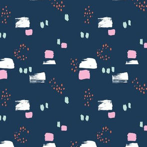 Paint strokes and brush spots dots raw abstract minimal LA Memphis style design boho nursery navy blue mint pink coral SMALL