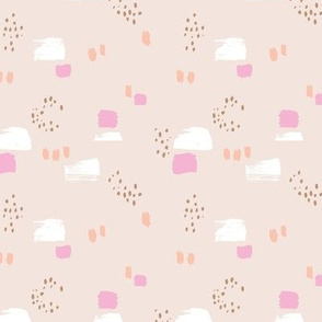 Paint strokes and brush spots dots raw abstract minimal LA Memphis style design boho nursery sand beige pink peach SMALL