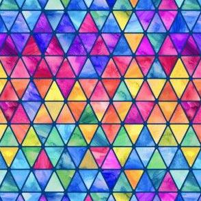 Tiny Rainbow Watercolor Triangles darker