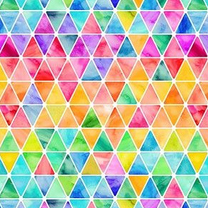 Tiny Rainbow Watercolor Triangles on white