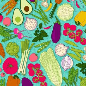 farmers market veggies - large scale turquoise
