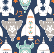 Rocket Race in Orange and Navy