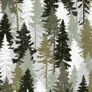 Pine Tree Camouflage Olive Khaki Grey White Linen Texture Camo Woodland Fabric Wallpaper