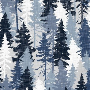 Pine Tree Camouflage Blue Grey White Linen Texture Camo Woodland Fabric Wallpaper