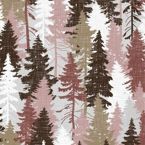 Pine Tree Camouflage Blush Grey White Linen Texture Camo Woodland Fabric Wallpaper