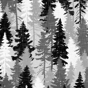 Pine Tree Camouflage Grey White Monochrome Linen Texture Camo Woodland Fabric Wallpaper