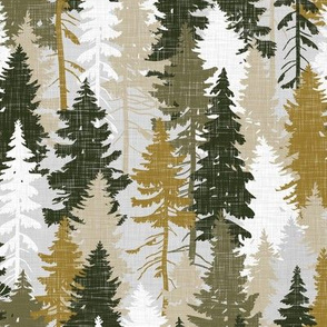 Pine Tree Camouflage Mustard Olive Grey White Linen Texture Camo Woodland Fabric Wallpaper