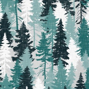 Pine Tree Camouflage Teal Grey White Linen Texture Camo Woodland Fabric Wallpaper