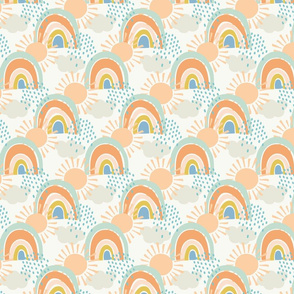 collage rainbows with clouds in apricot small scale by Pippa Shaw