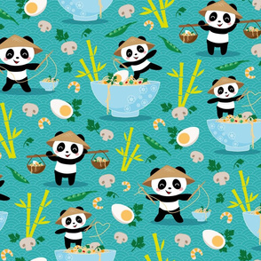 pandas and noodles - teal