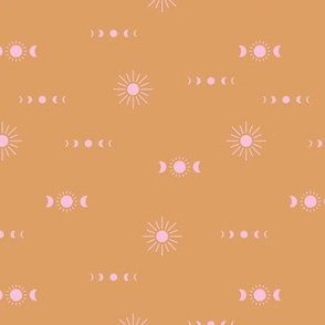 Full moon phase and sun boho universe constellation love sky honey yellow pink