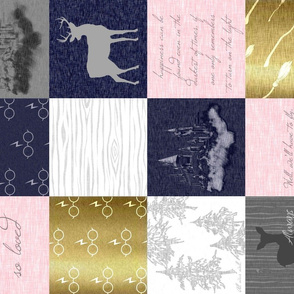 Always Quilt - pink, navy, gold - rotated
