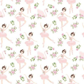 little ballerina girls with pink  swan