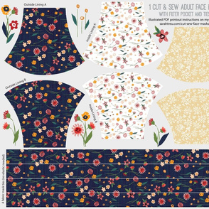 Adult Face Mask Cut-&-Sew - Navy Floral