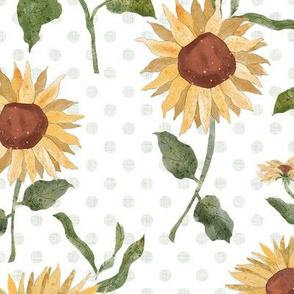 Sunflower Field with Polka Dots - Large repeat