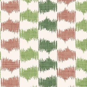 Ikat stripe in Cinnamon and Greens