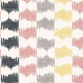 Ikat Stripe in Sage Silver, Desert Pink, Black and Maize