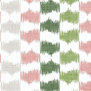 Ikat Stripe in silver sage, leaf green and desert pink