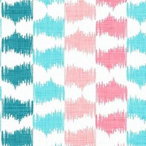 Ikat Stripe in Aqua and Pink