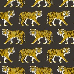 Tiger Parade -Ochre on Ebony -small by Heather Anderson