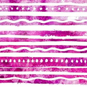 Raspberry Watercolor Stripes