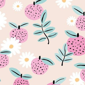 Sweet boho citrus garden and daisies botanical summer nursery design girls creme nude pink mint LARGE