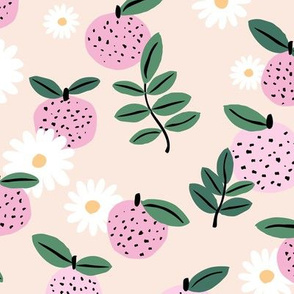 Sweet boho citrus garden and daisies botanical summer nursery design girls creme nude pink green LARGE