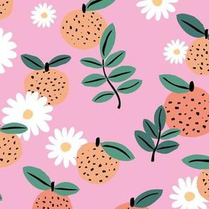 Sweet boho citrus garden and daisies botanical summer nursery design girls orange pink green LARGE