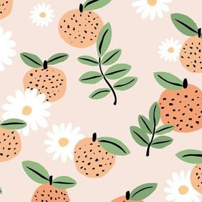 Sweet boho citrus garden and daisies botanical summer nursery design girls orange creme beige green LARGE