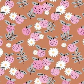 Sweet boho citrus garden and daisies botanical summer nursery design girls rust copper pink gray