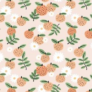 Sweet boho citrus garden and daisies botanical summer nursery design girls orange creme beige green