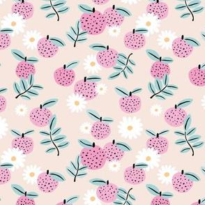 Sweet boho citrus garden and daisies botanical summer nursery design girls creme beige pink mint
