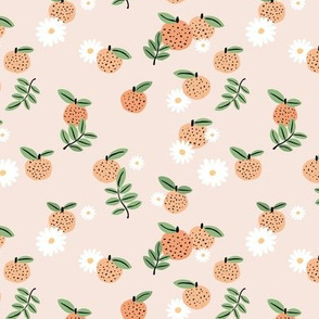 Delicate boho citrus garden and daisies botanical summer nursery design girls creme beige orange green
