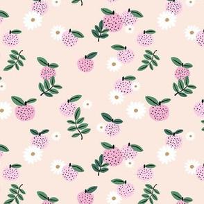 Delicate boho citrus garden and daisies botanical summer nursery design girls creme beige pink green