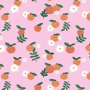Delicate boho citrus garden and daisies botanical summer nursery design girls pink orange green