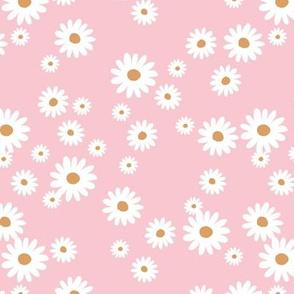 Summer day daisies minimal abstract Scandinavian boho style nursery girls pink white orange