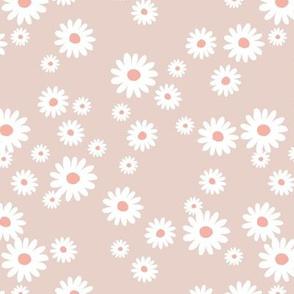 Summer day daisies minimal abstract Scandinavian boho style nursery girls soft latte beige sand coral