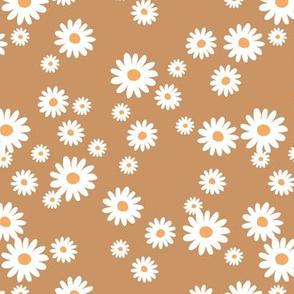 Summer day daisies minimal abstract Scandinavian boho style nursery girls caramel brown coral
