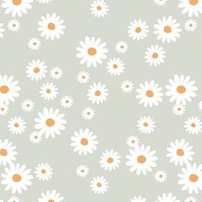 Summer day daisies minimal abstract Scandinavian boho style nursery girls soft pastel mint green