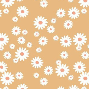 Summer day daisies minimal abstract Scandinavian boho style nursery girls butter yellow honey