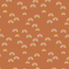 Sweet boho rainbow summer sky dreams and sleepy nights love design nursery copper rust brown girls pink