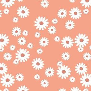 Summer day daisies minimal abstract Scandinavian boho style nursery girls orange tangerine coral