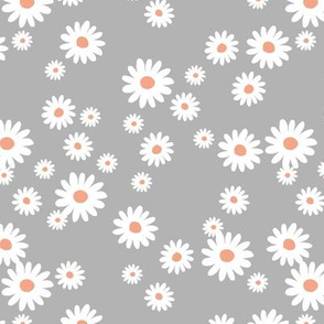 Summer day daisies minimal abstract Scandinavian boho style nursery girls cool gray orange