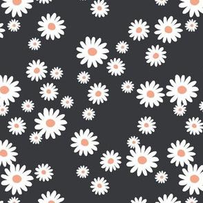 Summer day daisies minimal abstract Scandinavian boho style nursery girls cool charcoal