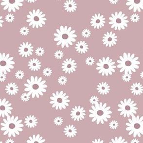 Summer day daisies minimal abstract Scandinavian boho style nursery girls mauve dusty purple