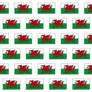 welsh flag fabric - cymru fabric, welsh dragon - white