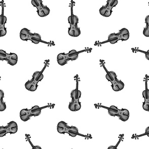 Vintage Violin Music Pattern in Black & White (Large Scale)