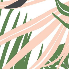 Hideaway - Tropical Palm Leaves White Jumbo Scale
