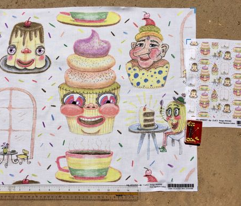 pastel cafe quirky anthropomorphic pastries baking, small scale, white yellow rainbow colors