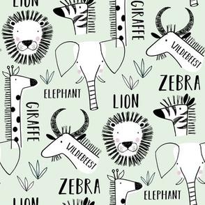 Safari animals line drawing (mint)